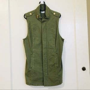 NWOT CAbi Army Green Zip-up Long Vest